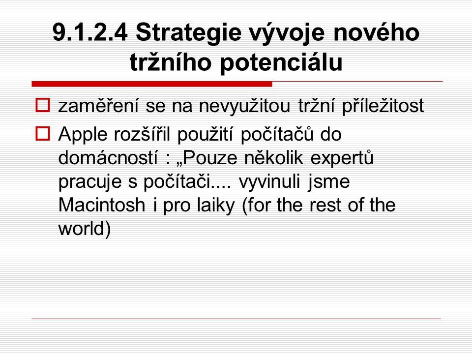 """9.1.2.4 Strategie vývoje nového tržního potenciálu  zaměření se na nevyužitou tržní příležitost  Apple rozšířil použití počítačů do domácností : """"Po"""