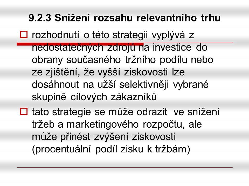 9.2.3 Snížení rozsahu relevantního trhu  rozhodnutí o této strategii vyplývá z nedostatečných zdrojů na investice do obrany současného tržního podílu
