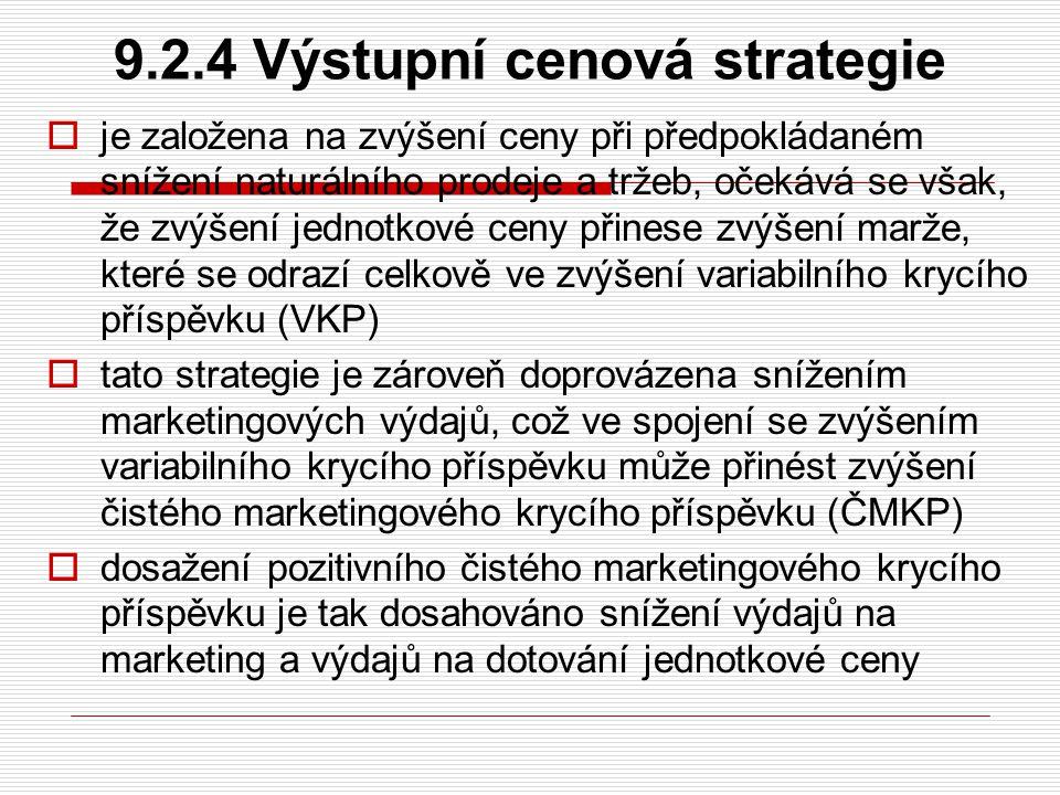 9.2.4 Výstupní cenová strategie  je založena na zvýšení ceny při předpokládaném snížení naturálního prodeje a tržeb, očekává se však, že zvýšení jedn