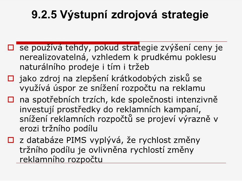 9.2.5 Výstupní zdrojová strategie  se používá tehdy, pokud strategie zvýšení ceny je nerealizovatelná, vzhledem k prudkému poklesu naturálního prodej
