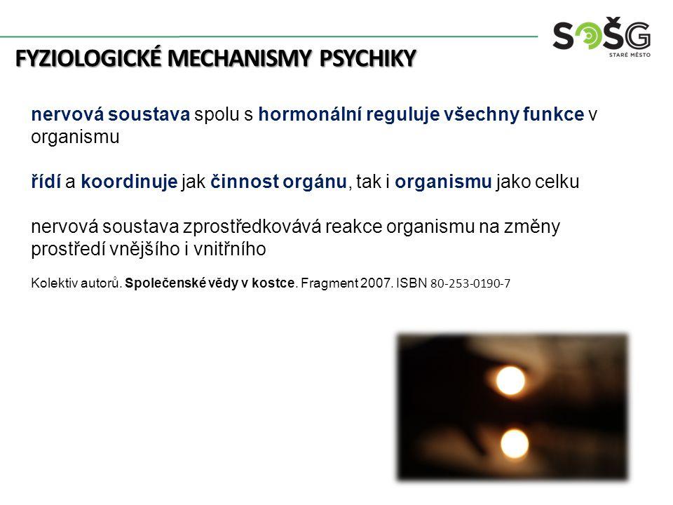 FYZIOLOGICKÉ MECHANISMY PSYCHIKY nervová soustava spolu s hormonální reguluje všechny funkce v organismu řídí a koordinuje jak činnost orgánu, tak i organismu jako celku nervová soustava zprostředkovává reakce organismu na změny prostředí vnějšího i vnitřního Kolektiv autorů.