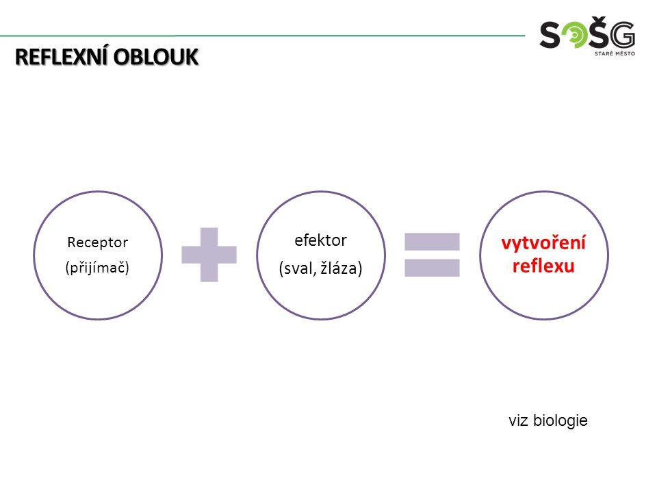 REFLEXNÍ OBLOUK Receptor (přijímač) efektor (sval, žláza) vytvoření reflexu viz biologie