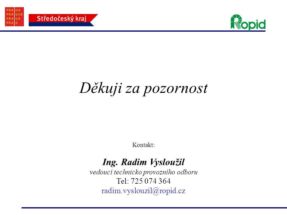 Děkuji za pozornost Kontakt: Ing. Radim Vysloužil vedoucí technicko provozního odboru Tel: 725 074 364 radim.vyslouzil@ropid.cz