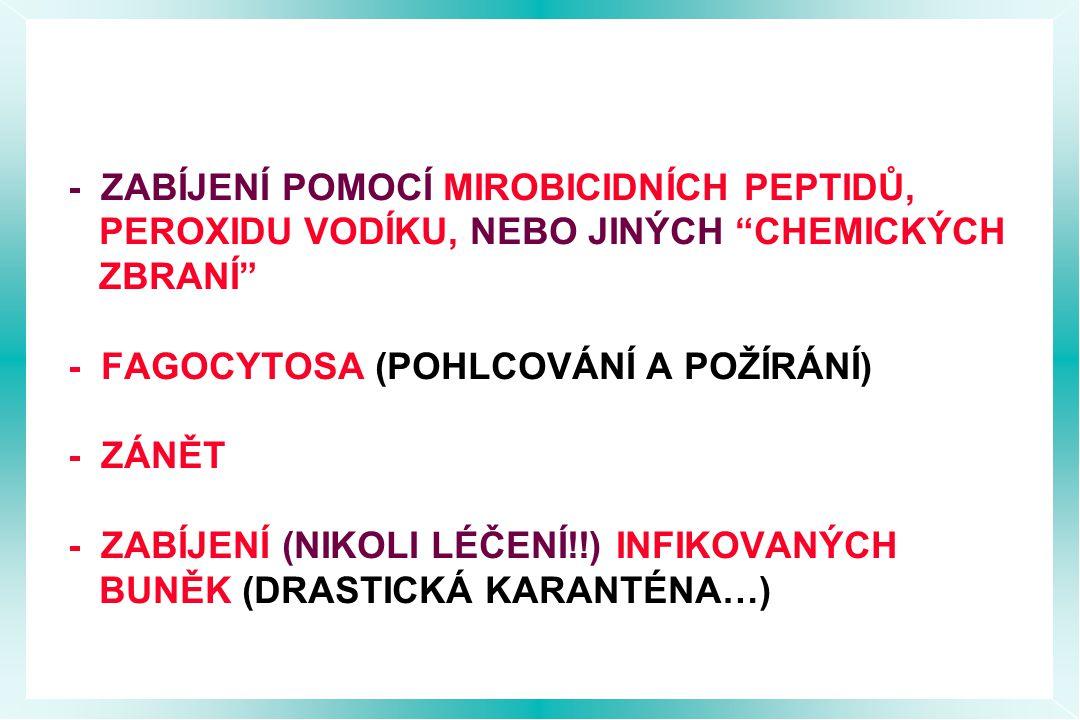 - ZABÍJENÍ POMOCÍ MIROBICIDNÍCH PEPTIDŮ, PEROXIDU VODÍKU, NEBO JINÝCH CHEMICKÝCH ZBRANÍ - FAGOCYTOSA (POHLCOVÁNÍ A POŽÍRÁNÍ) - ZÁNĚT - ZABÍJENÍ (NIKOLI LÉČENÍ!!) INFIKOVANÝCH BUNĚK (DRASTICKÁ KARANTÉNA…)