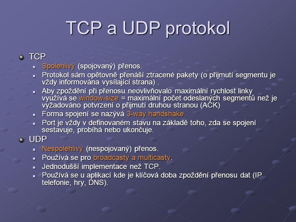 TCP a UDP protokol TCP Spolehlivý (spojovaný) přenos. Spolehlivý (spojovaný) přenos. Protokol sám opětovně přenáší ztracené pakety (o přijmutí segment
