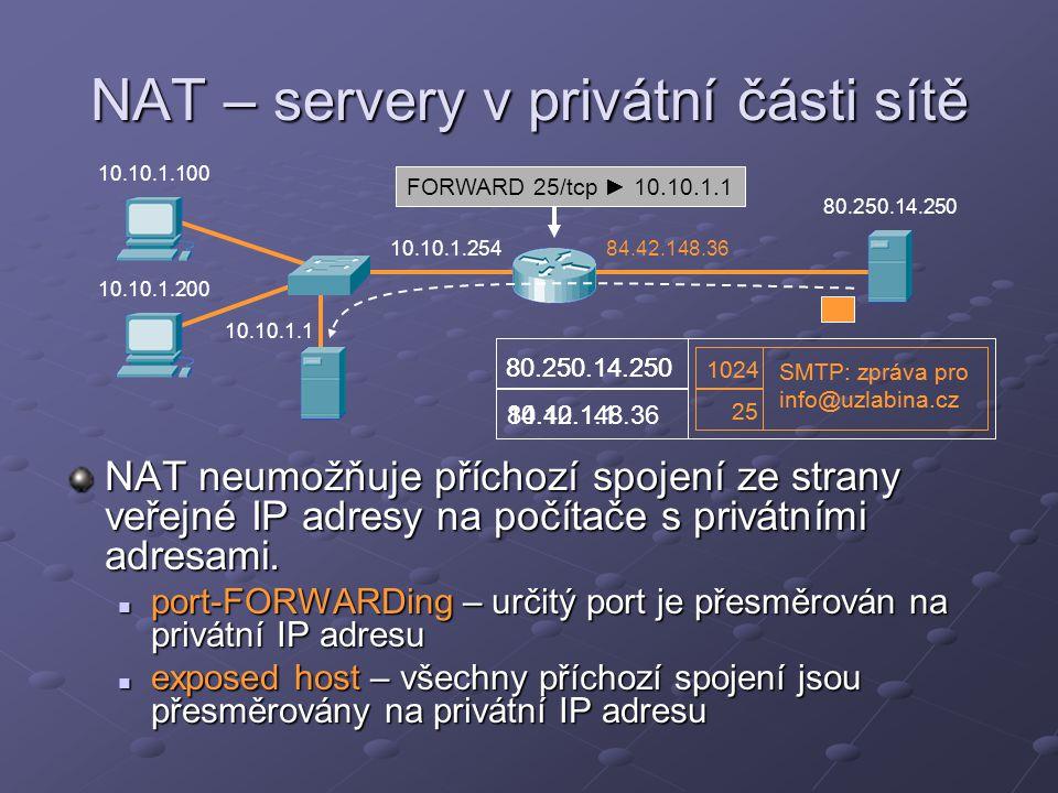 NAT – servery v privátní části sítě NAT neumožňuje příchozí spojení ze strany veřejné IP adresy na počítače s privátními adresami. port-FORWARDing – u