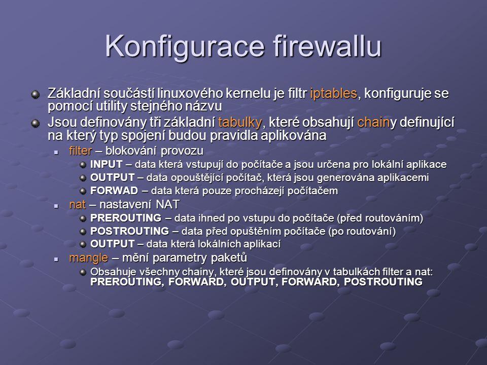 Konfigurace firewallu Základní součástí linuxového kernelu je filtr iptables, konfiguruje se pomocí utility stejného názvu Jsou definovány tři základn
