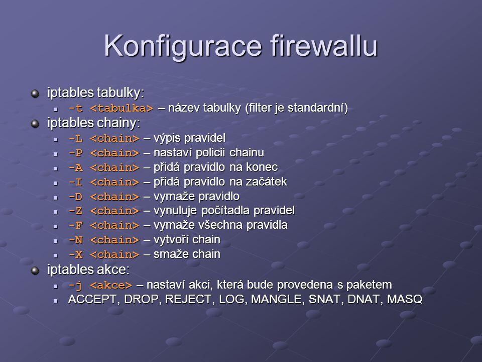 Konfigurace firewallu iptables tabulky: -t – název tabulky (filter je standardní) -t – název tabulky (filter je standardní) iptables chainy: -L – výpi