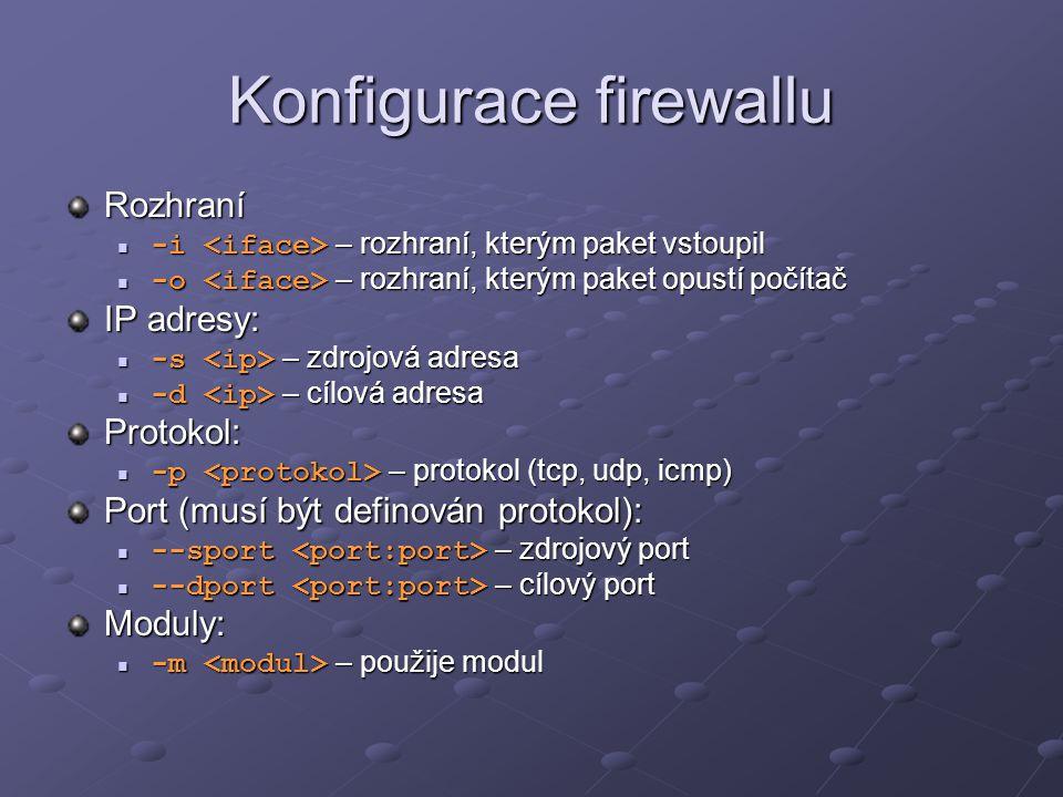 Konfigurace firewallu Rozhraní -i – rozhraní, kterým paket vstoupil -i – rozhraní, kterým paket vstoupil -o – rozhraní, kterým paket opustí počítač -o