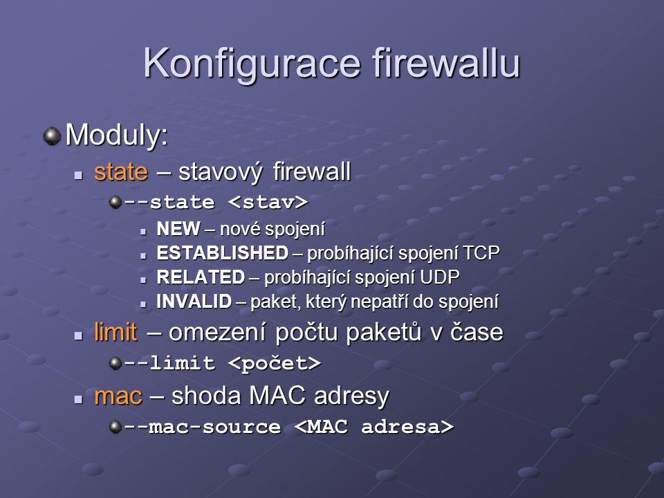 Konfigurace firewallu Moduly: state – stavový firewall state – stavový firewall --state --state NEW – nové spojení NEW – nové spojení ESTABLISHED – pr