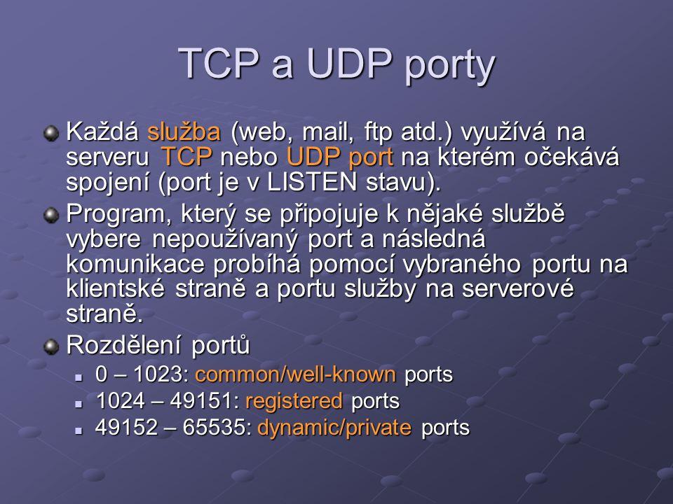 TCP a UDP porty Každá služba (web, mail, ftp atd.) využívá na serveru TCP nebo UDP port na kterém očekává spojení (port je v LISTEN stavu). Program, k