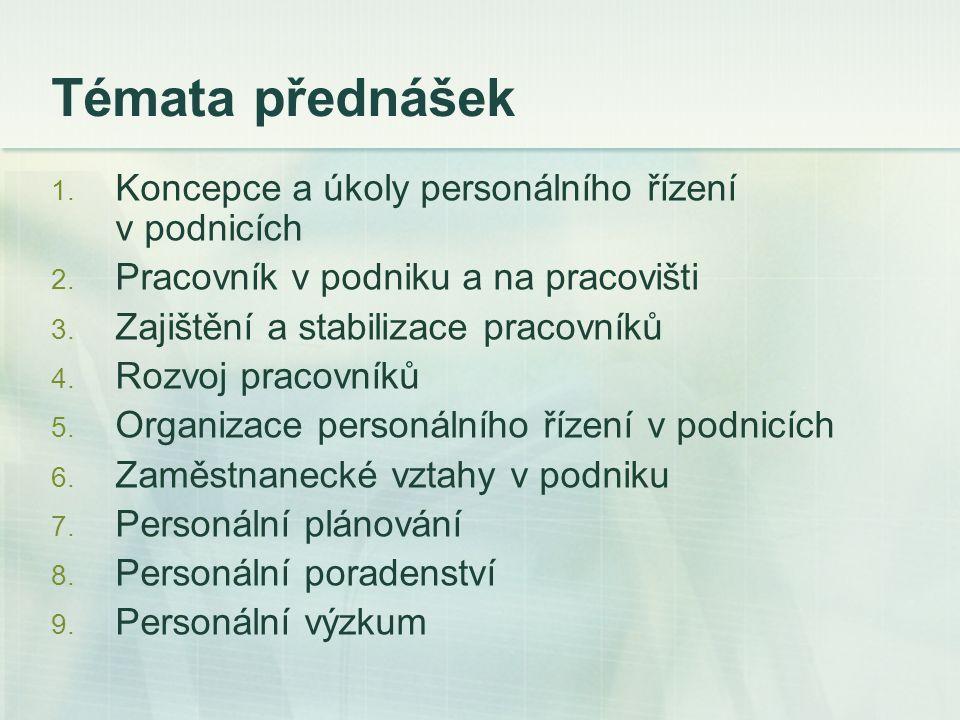 Témata přednášek 1. Koncepce a úkoly personálního řízení v podnicích 2. Pracovník v podniku a na pracovišti 3. Zajištění a stabilizace pracovníků 4. R
