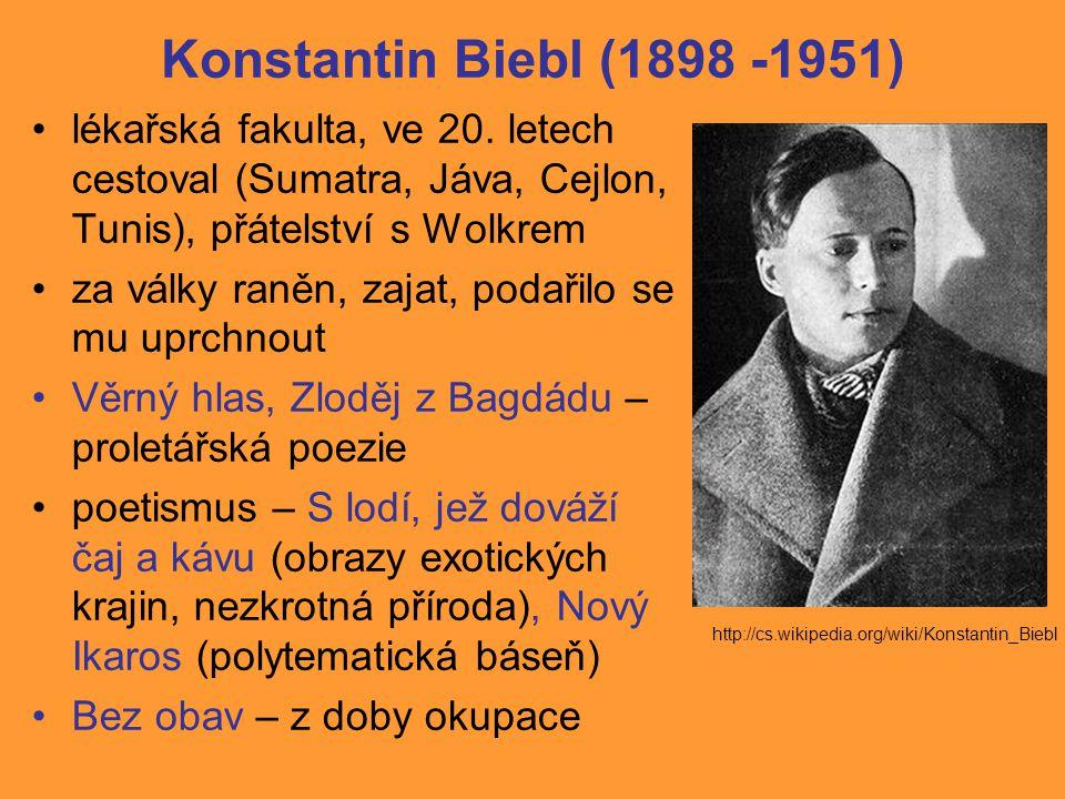 Konstantin Biebl (1898 -1951) lékařská fakulta, ve 20.