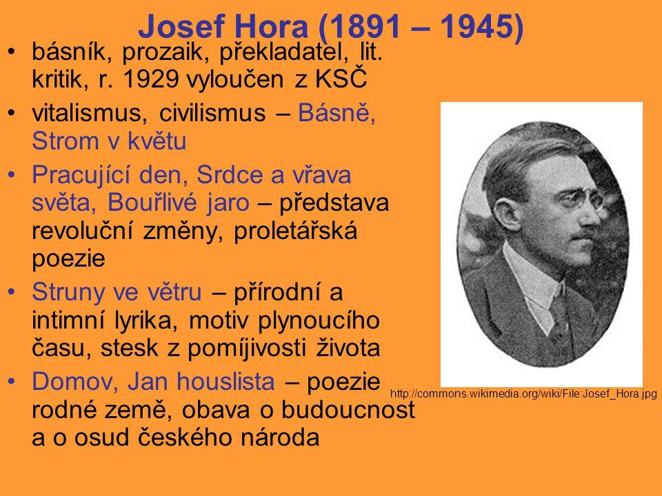 Josef Hora (1891 – 1945) básník, prozaik, překladatel, lit.