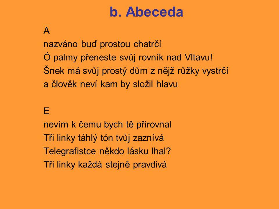 b.Abeceda A nazváno buď prostou chatrčí Ó palmy přeneste svůj rovník nad Vltavu.