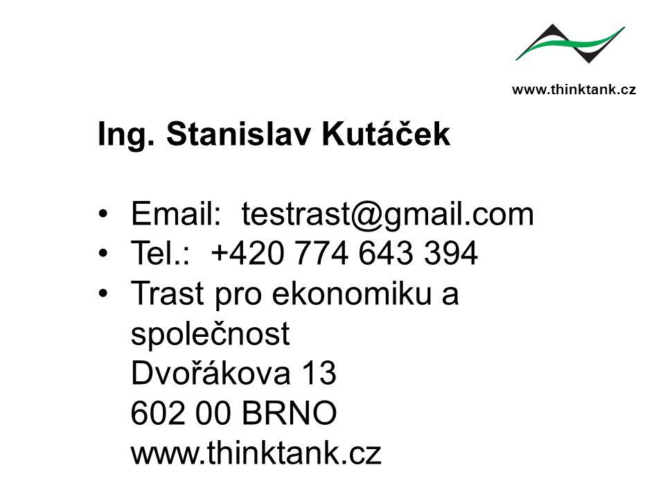 www.thinktank.cz Ing. Stanislav Kutáček Email: testrast@gmail.com Tel.: +420 774 643 394 Trast pro ekonomiku a společnost Dvořákova 13 602 00 BRNO www
