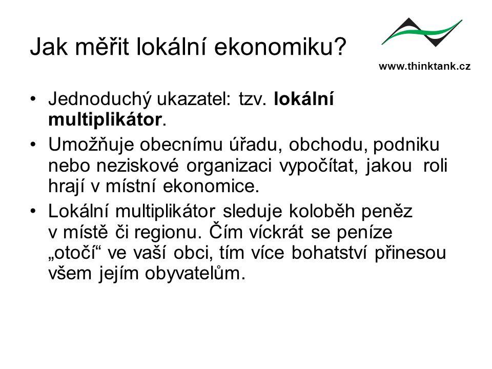 www.thinktank.cz Jak měřit lokální ekonomiku? Jednoduchý ukazatel: tzv. lokální multiplikátor. Umožňuje obecnímu úřadu, obchodu, podniku nebo neziskov