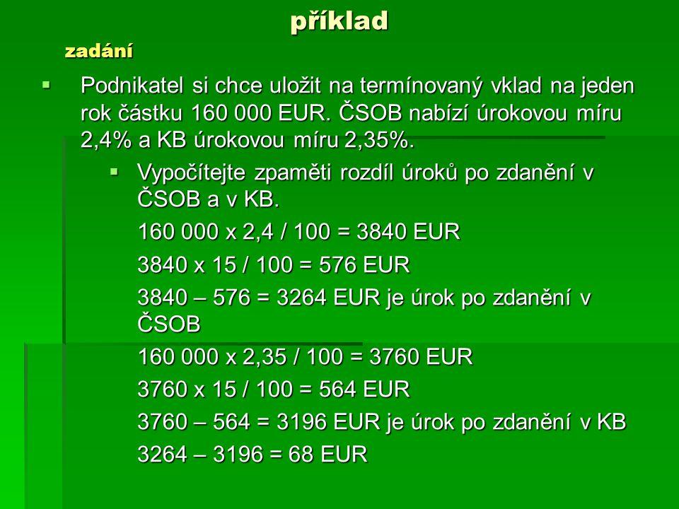 příklad  Podnikatel si chce uložit na termínovaný vklad na jeden rok částku 160 000 EUR.