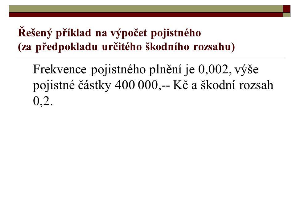 P = f * r * PČ P – pojistné f – frekvence pojistného plnění r – škodní rozsah PČ – pojistná částka P = 0,002 * 0,2 * 400 000 = 160 Kč Výše pojistného bude 160 Kč.