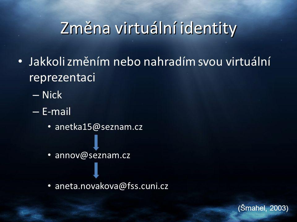 Změna virtuální identity Jakkoli změním nebo nahradím svou virtuální reprezentaci – Nick – E-mail anetka15@seznam.cz annov@seznam.cz aneta.novakova@fs