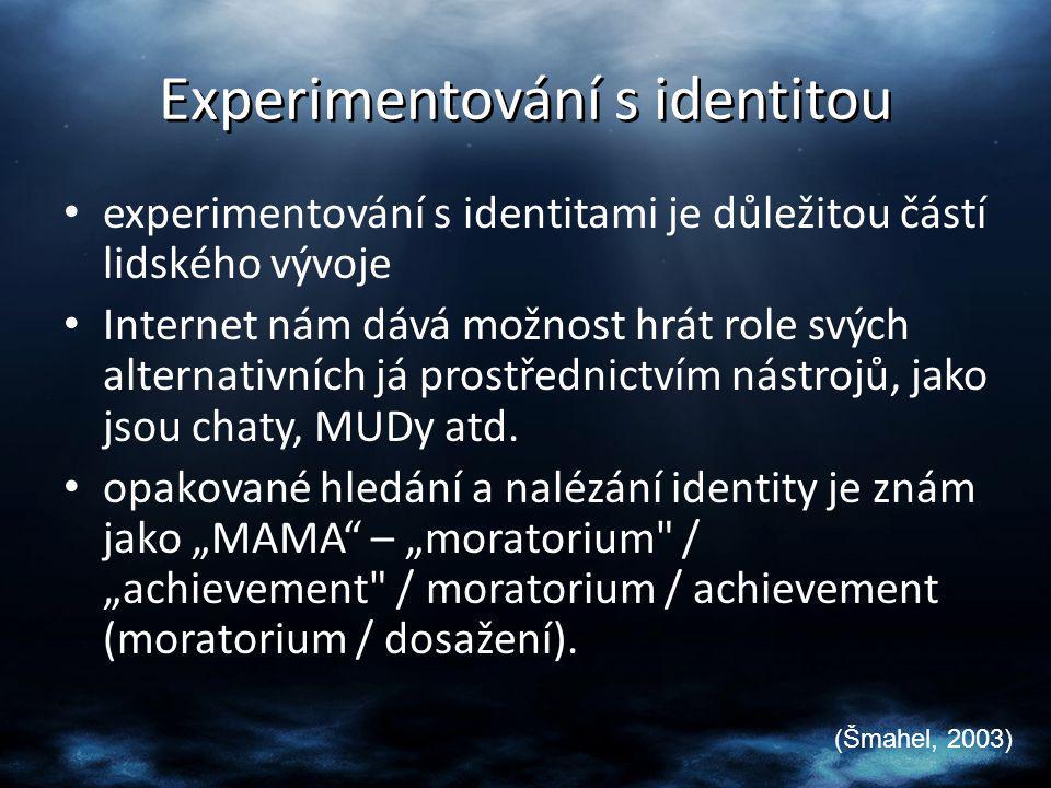 Experimentování s identitou experimentování s identitami je důležitou částí lidského vývoje Internet nám dává možnost hrát role svých alternativních j