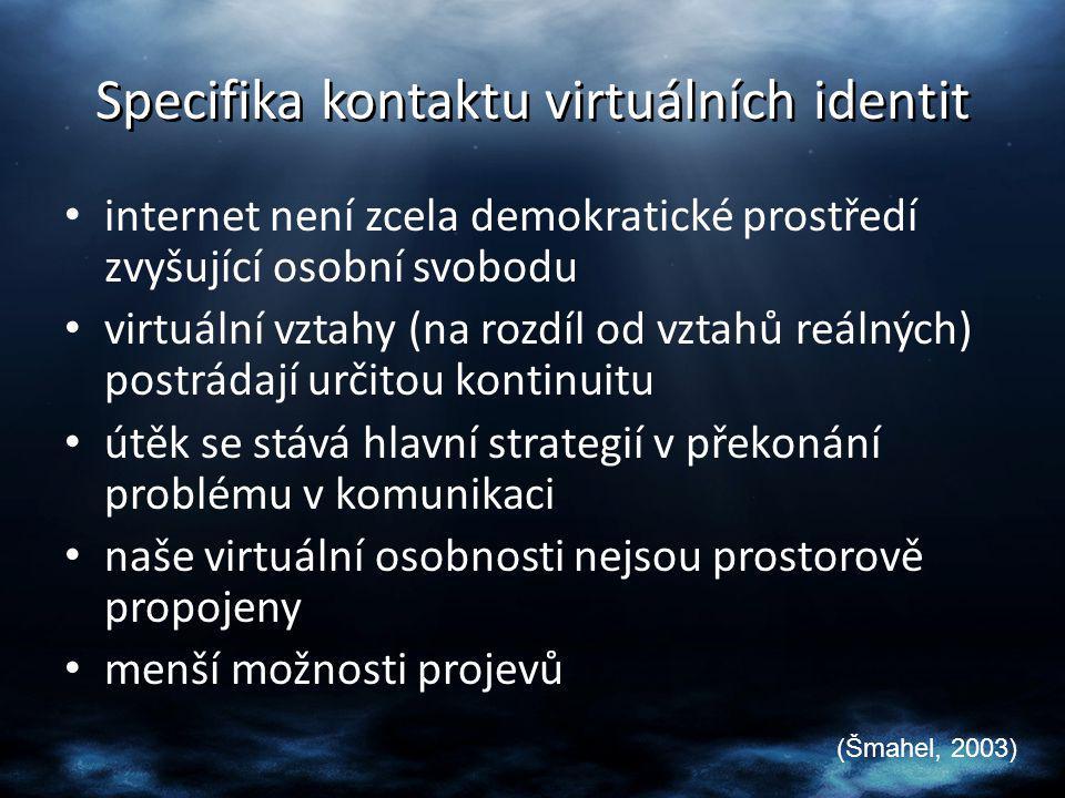 Specifika kontaktu virtuálních identit internet není zcela demokratické prostředí zvyšující osobní svobodu virtuální vztahy (na rozdíl od vztahů reáln