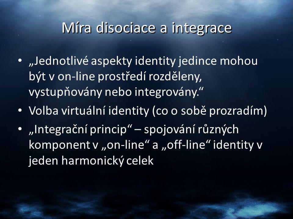 """Míra disociace a integrace """"Jednotlivé aspekty identity jedince mohou být v on-line prostředí rozděleny, vystupňovány nebo integrovány."""" Volba virtuál"""