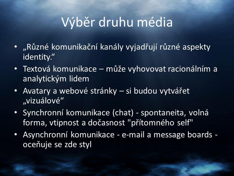 """Výběr druhu média """"Různé komunikační kanály vyjadřují různé aspekty identity."""" Textová komunikace – může vyhovovat racionálním a analytickým lidem Ava"""