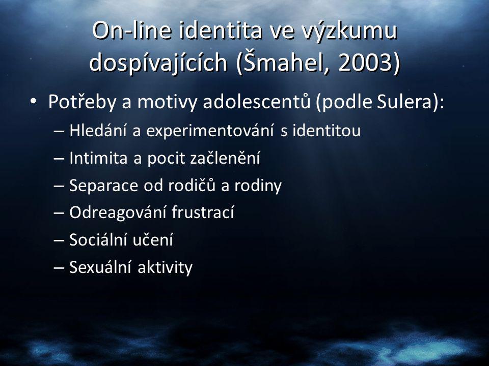 On-line identita ve výzkumu dospívajících (Šmahel, 2003) Potřeby a motivy adolescentů (podle Sulera): – Hledání a experimentování s identitou – Intimi