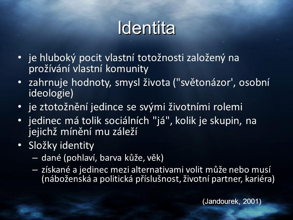 Identita je hluboký pocit vlastní totožnosti založený na prožívání vlastní komunity zahrnuje hodnoty, smysl života (