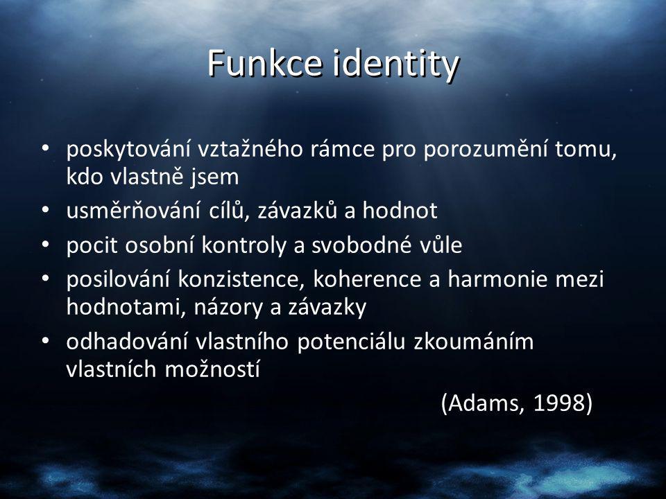 Formování identity reálné Erikson (1986) – Popisuje 8 stádií vývoje Útlé dětství – důvěra vs.