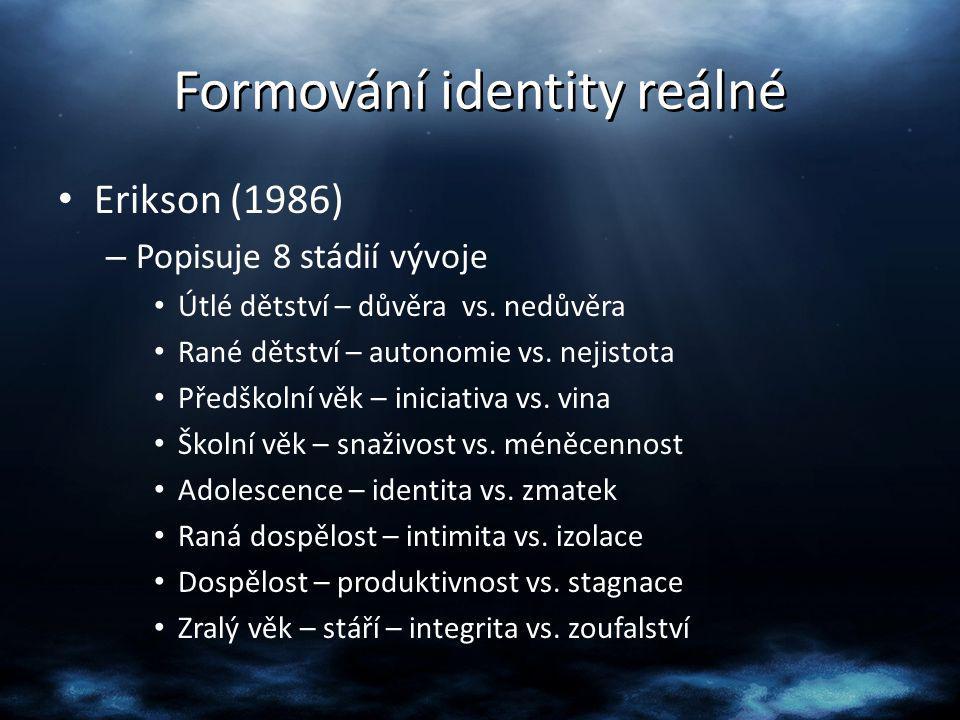 Formování identity reálné Erikson (1986) – Popisuje 8 stádií vývoje Útlé dětství – důvěra vs. nedůvěra Rané dětství – autonomie vs. nejistota Předškol