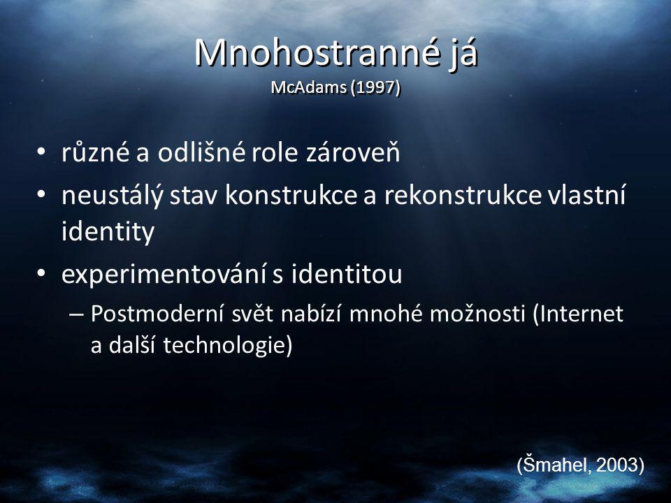 Mnohostranné já McAdams (1997) různé a odlišné role zároveň neustálý stav konstrukce a rekonstrukce vlastní identity experimentování s identitou – Pos