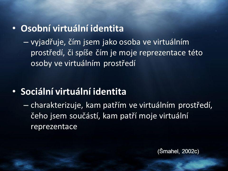 Změna virtuální identity Jakkoli změním nebo nahradím svou virtuální reprezentaci – Nick – E-mail anetka15@seznam.cz annov@seznam.cz aneta.novakova@fss.cuni.cz (Šmahel, 2003)