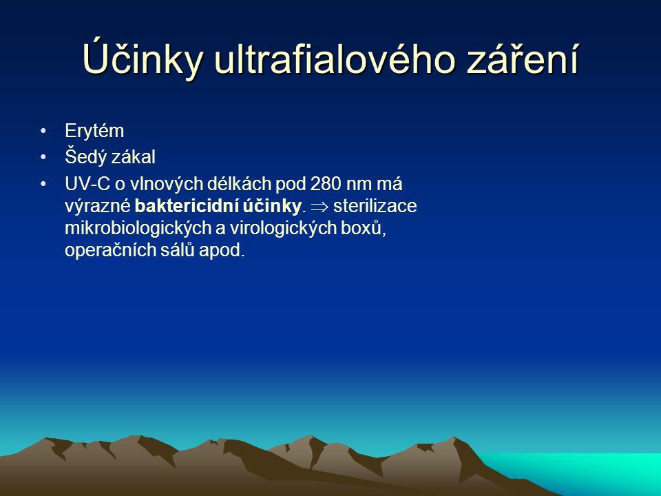 Účinky ultrafialového záření Erytém Šedý zákal UV-C o vlnových délkách pod 280 nm má výrazné baktericidní účinky.  sterilizace mikrobiologických a vi