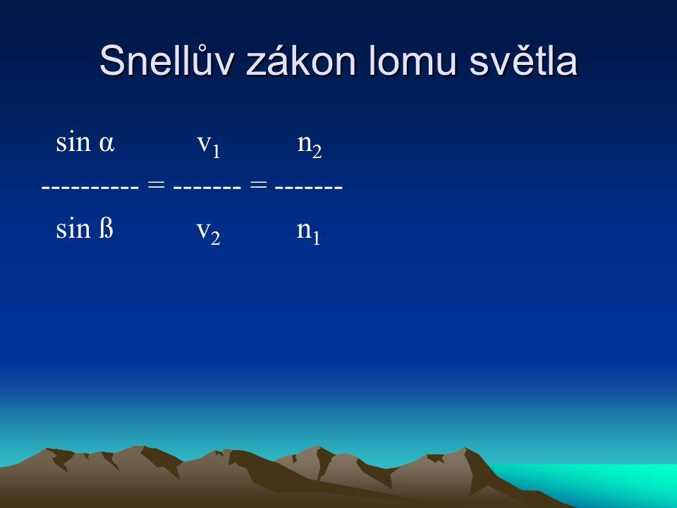Snellův zákon lomu světla sin α v 1 n 2 ---------- = ------- = ------- sin ß v 2 n 1