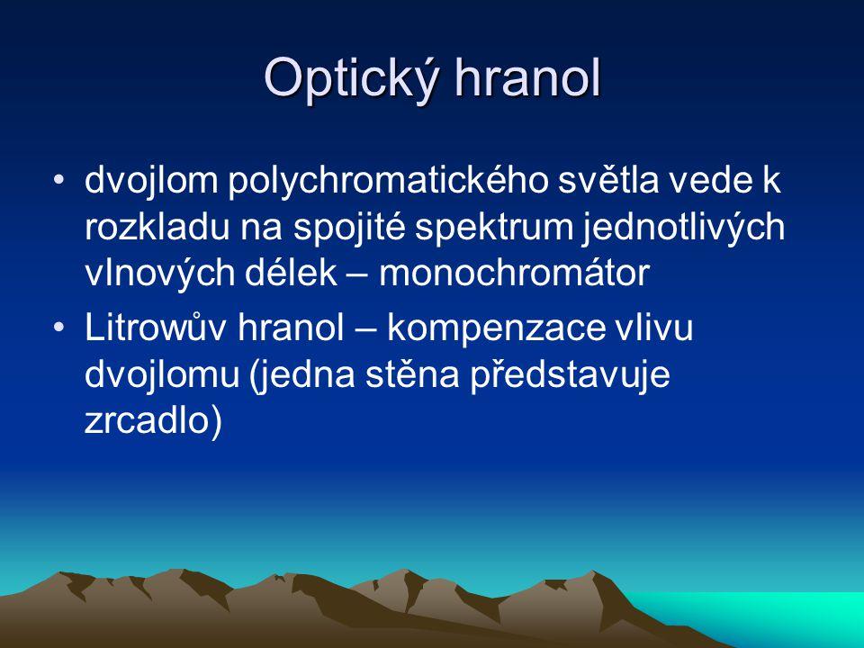 Optický hranol dvojlom polychromatického světla vede k rozkladu na spojité spektrum jednotlivých vlnových délek – monochromátor Litrowův hranol – komp