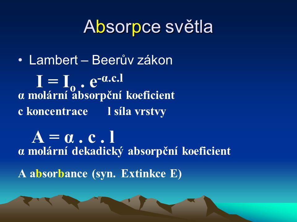Absorpce světla Lambert – Beerův zákon I = I o. e -α.c.l α molární absorpční koeficient c koncentrace l síla vrstvy A = α. c. l α molární dekadický ab