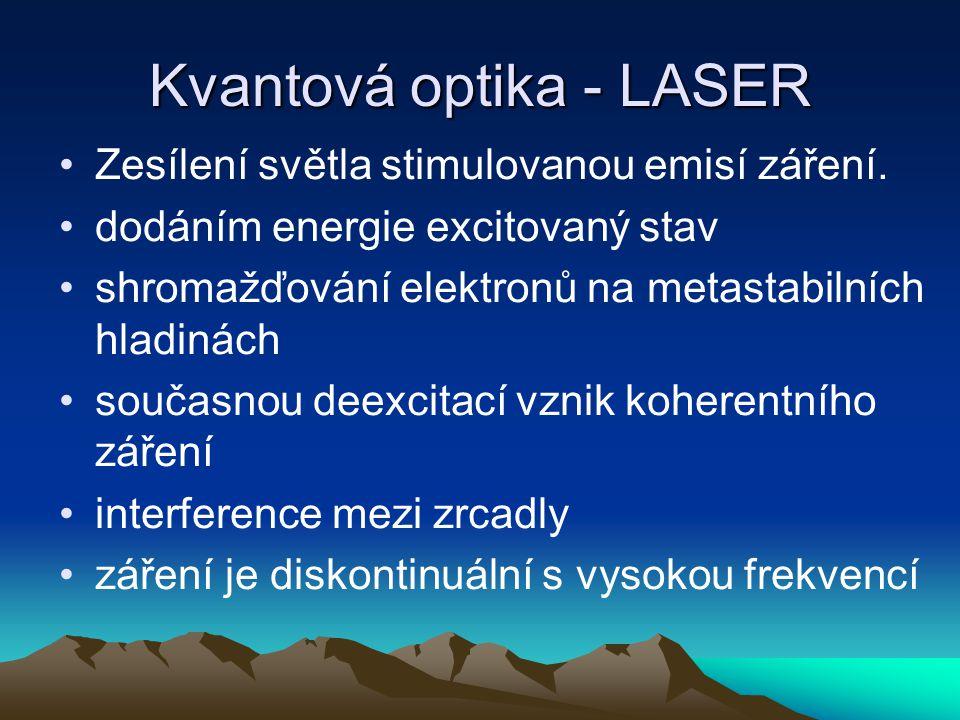 Kvantová optika - LASER Zesílení světla stimulovanou emisí záření. dodáním energie excitovaný stav shromažďování elektronů na metastabilních hladinách