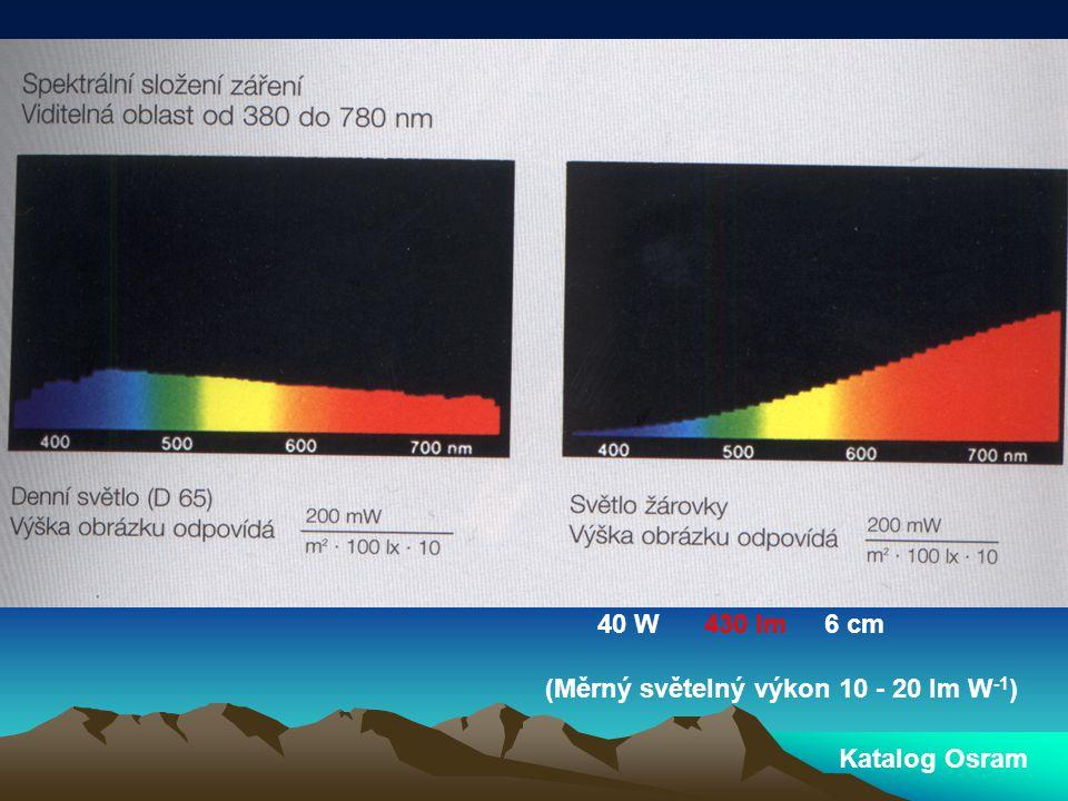 Katalog Osram 40 W 430 lm 6 cm (Měrný světelný výkon 10 - 20 lm W -1 )