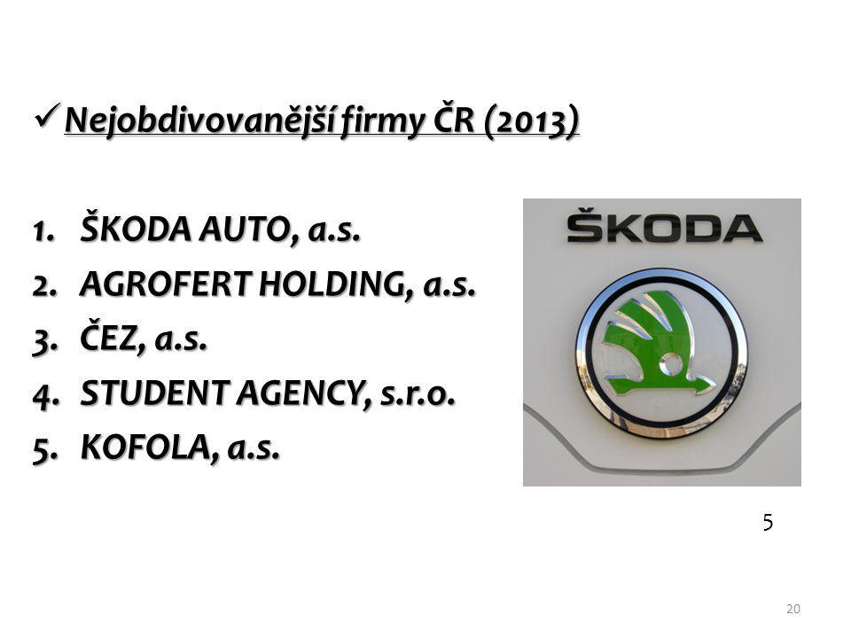 Nejobdivovanější firmy ČR (2013) Nejobdivovanější firmy ČR (2013) 1.ŠKODA AUTO, a.s.