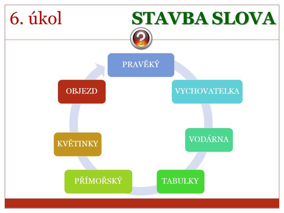 STAVBA SLOVA 6. úkol PRAVĚKÝVYCHOVATELKAVODÁRNATABULKYPŘÍMOŘSKÝKVĚTINKYOBJEZD