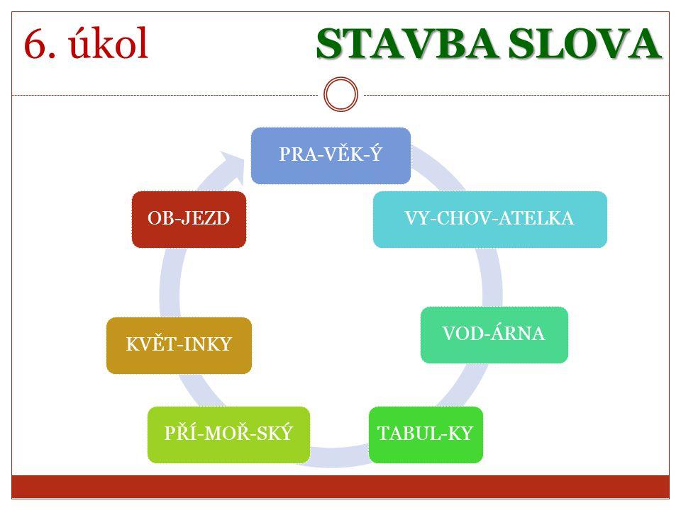 STAVBA SLOVA 6. úkol PRA-VĚK-ÝVY-CHOV-ATELKAVOD-ÁRNATABUL-KYPŘÍ-MOŘ-SKÝKVĚT-INKYOB-JEZD