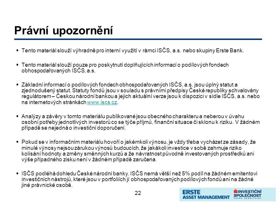 22 Právní upozornění  Tento materiál slouží výhradně pro interní využití v rámci ISČS, a.s. nebo skupiny Erste Bank.  Tento materiál slouží pouze pr