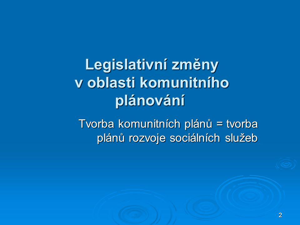 2 Legislativní změny v oblasti komunitního plánování Legislativní změny v oblasti komunitního plánování Tvorba komunitních plánů = tvorba plánů rozvoje sociálních služeb