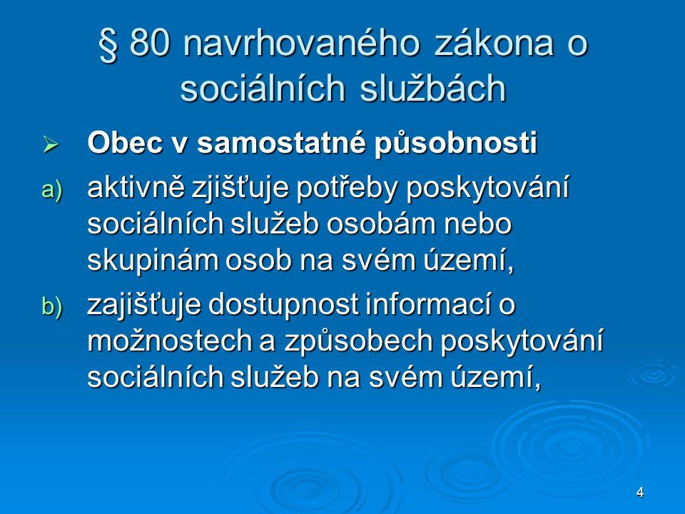 4 § 80 navrhovaného zákona o sociálních službách  Obec v samostatné působnosti a) aktivně zjišťuje potřeby poskytování sociálních služeb osobám nebo skupinám osob na svém území, b) zajišťuje dostupnost informací o možnostech a způsobech poskytování sociálních služeb na svém území,