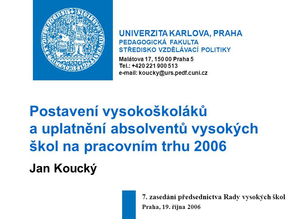UNIVERZITA KARLOVA, PRAHA PEDAGOGICKÁ FAKULTA STŘEDISKO VZDĚLÁVACÍ POLITIKY Malátova 17, 150 00 Praha 5 Tel.: +420 221 900 513 e-mail: koucky@urs.pedf.cuni.cz Postavení vysokoškoláků a uplatnění absolventů vysokých škol na pracovním trhu 2006 Jan Koucký 7.