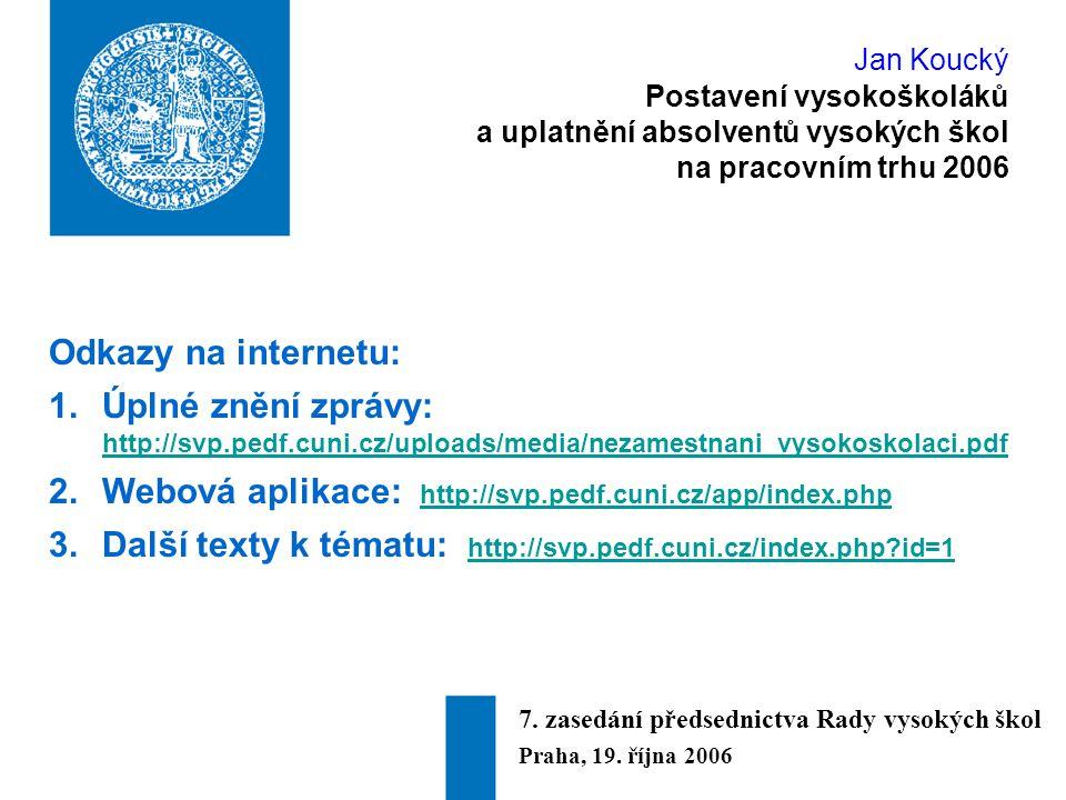 Jan Koucký Postavení vysokoškoláků a uplatnění absolventů vysokých škol na pracovním trhu 2006 Odkazy na internetu: 1.Úplné znění zprávy: http://svp.pedf.cuni.cz/uploads/media/nezamestnani_vysokoskolaci.pdf http://svp.pedf.cuni.cz/uploads/media/nezamestnani_vysokoskolaci.pdf 2.Webová aplikace: http://svp.pedf.cuni.cz/app/index.php http://svp.pedf.cuni.cz/app/index.php 3.Další texty k tématu: http://svp.pedf.cuni.cz/index.php id=1 http://svp.pedf.cuni.cz/index.php id=1 7.