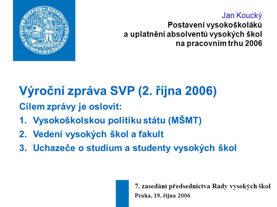 Jan Koucký Postavení vysokoškoláků a uplatnění absolventů vysokých škol na pracovním trhu 2006 1.Kolik je u nás vysokoškoláků.