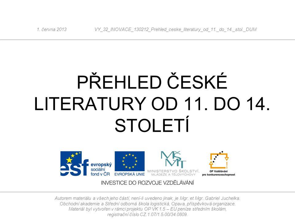 Literatura 11.a 12. stol.